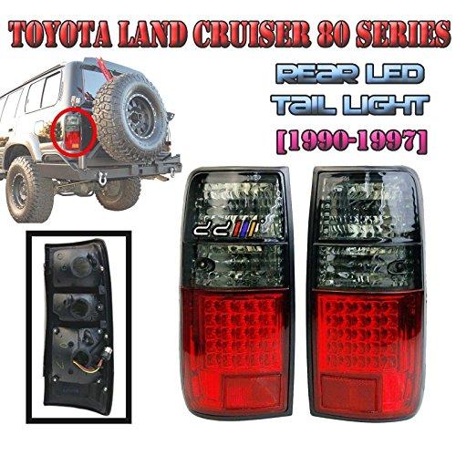 Crystal Red + Smoke LED Tail Lamp Light Lexus Lx450 Landcruiser FJ80 GLX 1990-97 ()