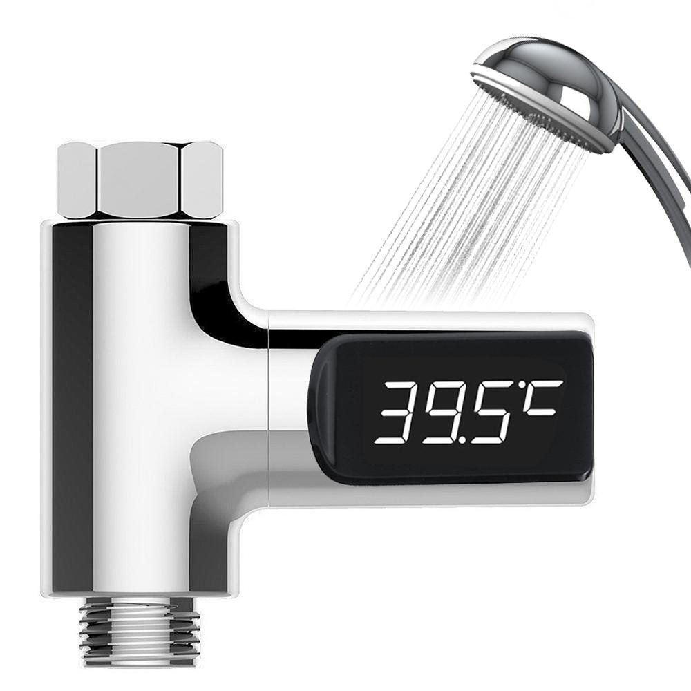 LED Shower Thermometer, Pawaca Digital Water Shower Thermometer Self-Generating Water Thermometer Monitor Baby Care Energy Smart Meter