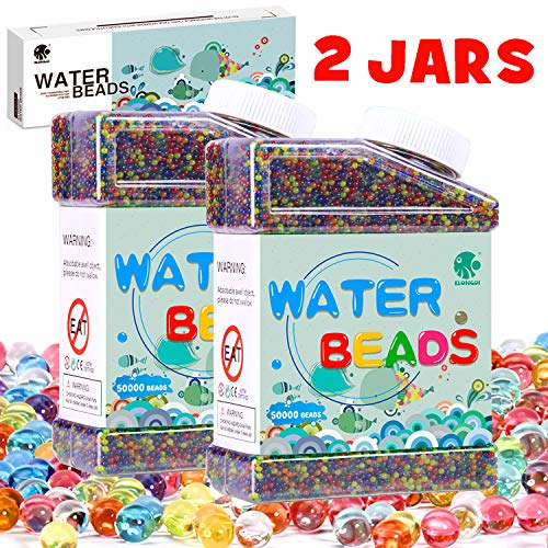 Elongdi Water Beads Pack [ 2-Pack ] Colorful Jelly Water Orbies Gel Beads Growing Balls for Spa Refill, Kids Sensory Toys, Vases, Plant, Wedding and Home Decor -
