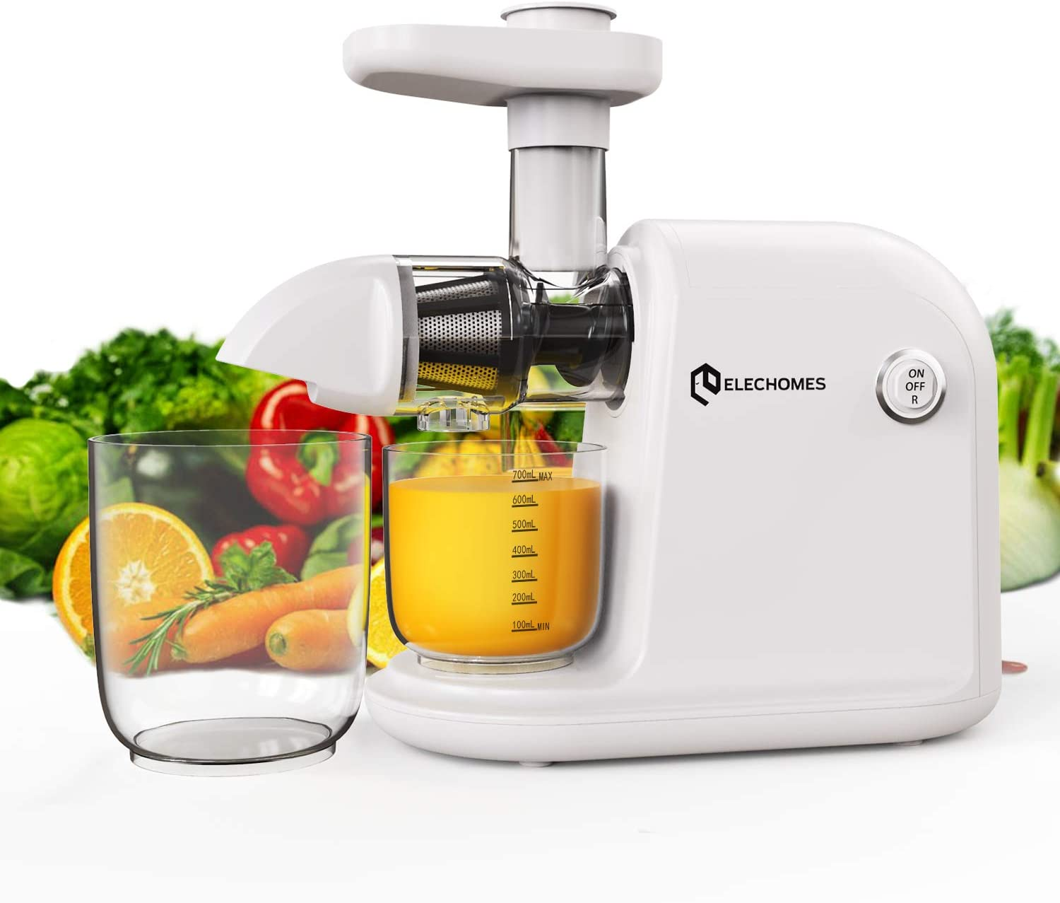 Juicer Machines, Elechomes 80RPM Slow Masticating Juicer, 150W Quiet Motor Cold Press Juicer with Reverse Function, Efficient High Yield Slow Juicer Extractor for Vegetables and Fruits, Easy to Clean