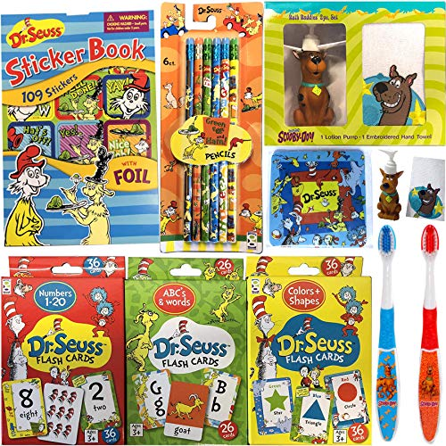 (Seuss Learn & Clean Up Scooby-Doo! Bath Jam Time Kids Cartoon Character Buddy Set Zoinks! Soap Figure Dispenser & Bath Hand Towel + Toothbrush Pack + Dr. Flash Math Colors Shapes Abc's Fun 8 Items)