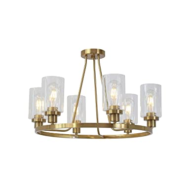 MELUCEE 6 Lights Brass Chandelier Round with Clear Glass Shade, Island Lighting Industrial Ceiling Light Flush Mount for Kitchen Dining Room Living Room Bedroom UL Listed