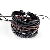 TATRIZ Bracelet for Mens,Women& Boys, 4PCS Set Handmade Braided Leather Bracelet Unisex Women Men Cuff Bangle Adjustable…
