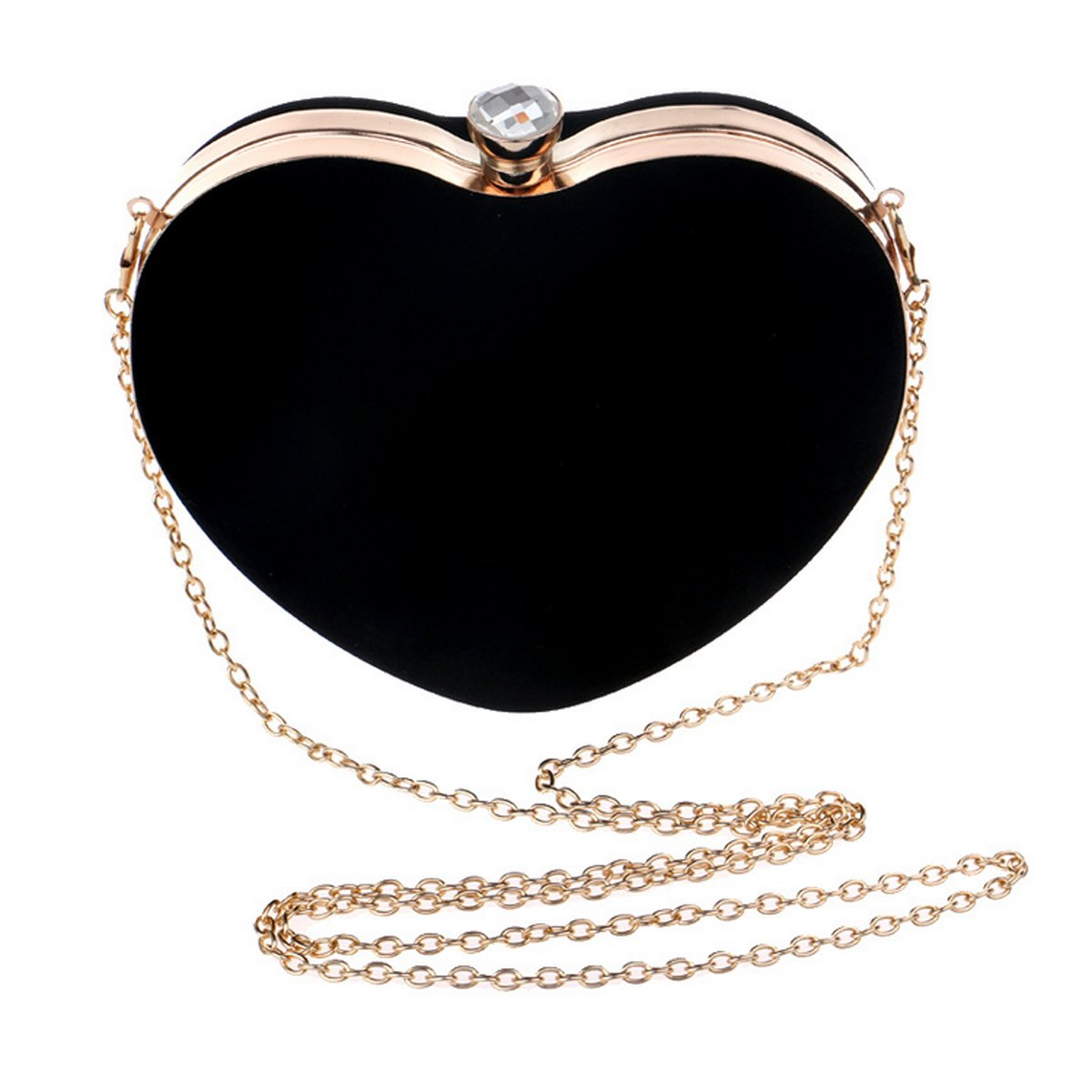 Amazon.com: Queena Women Fashion Heart Shaped Evening Bag Suede Handbag Clutch Party Bag Tote Purse Bag Black: Shoes