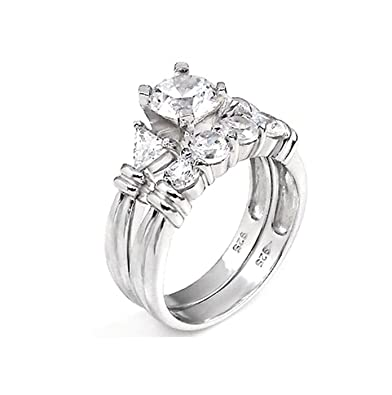 Amazon Com 2 Ct Past Present Future Bridal Wedding Ring Designer