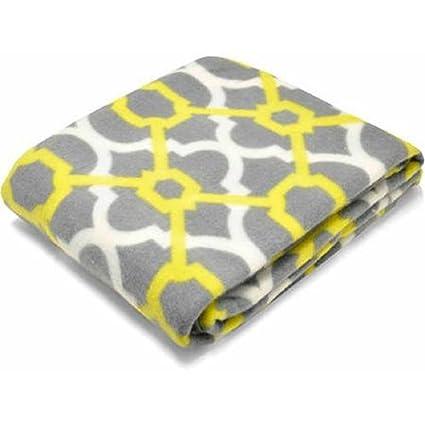 Amazon Fleece Throw Fretwork Grey Citron 40 X 40 Home Kitchen Amazing Citron Throw Blanket