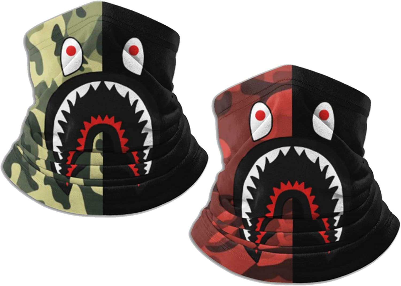 Fashion Shark Bandanas Face Mask Headwear Balaclava Face Cover Neck Gaiter for Outdoors, Sports