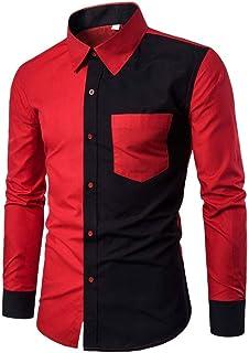 T-Shirt A Maniche Lunghe da Uomo Splicing Cravatta A Lunghe Camicie Maniche con Unique Stlie Bottoni Top da Uomo Autunno Lose Pullover Classic Tops Long