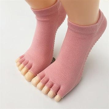 Maybesky Calcetines de Yoga Calcetines de Dedos Antideslizantes de algodón Dedo de la Mano Calcetines Femeninos Pilates, Calcetines Antideslizantes (Color ...