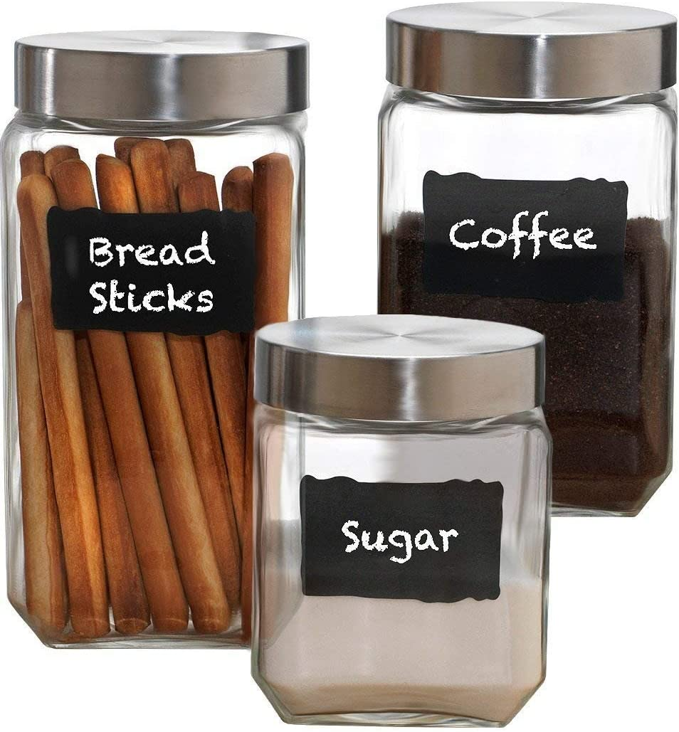 Farmhouse Decor Glass Canister with Airtight Lids and Fun Chalkboard, Set of 3, Home Kitchen Utensils Glassware Food Preserving Container for Coffee, Sugar, Tea, 84 oz, 44 oz, 32 oz, Provincial