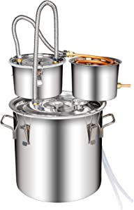 Moonshine Still Home Brewing Kit 3 Pot 3Gal 12L, Stainless Steel Water Distiller Copper Tube, Build-in Thermometer for DIY Whisky Wine Brandy Spirits Moonshine (3 POT3 GALLON)