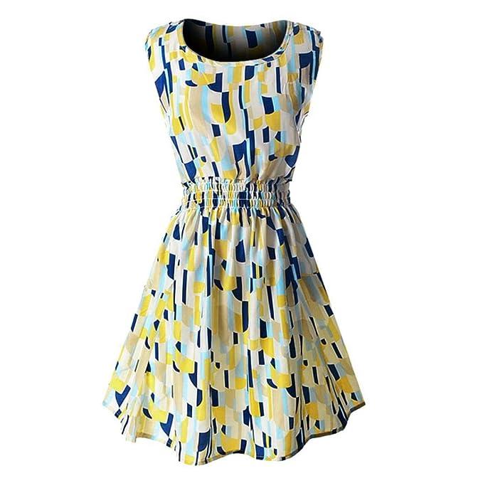 POLP Vestidos Cortos,Estilo Hepburn Vestido Mujer Verano Mini Vestido Mujer Vestido Estampado de Gasa