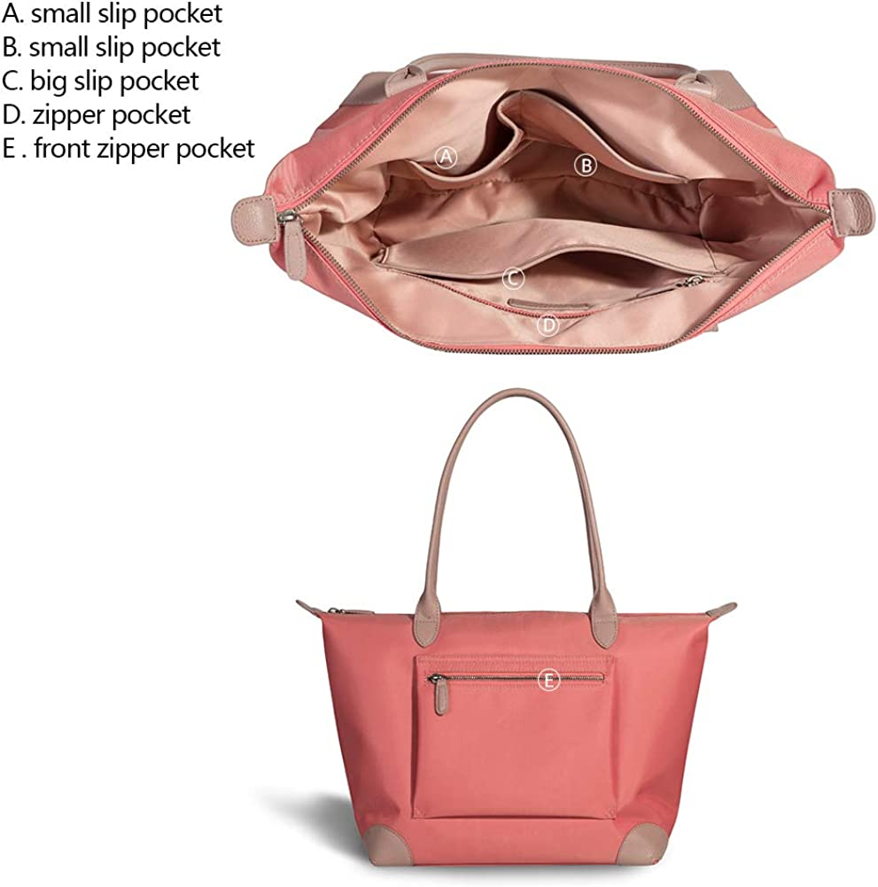 Purses and handbags Tote Shoulder Bag for Women Large Travel Work Oxford Nylon Leather Top Handle Bags Coral