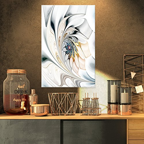 Design Art White Stained Glass Floral Wall Art Canvas, 16x32
