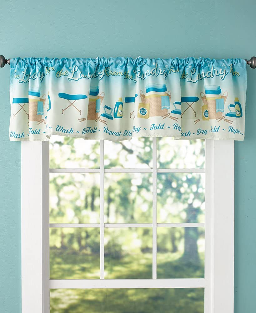 The Lakeside Collection Lively Laundry Window Valance - Wash Room Decoration