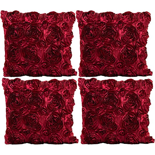 (JOTOM Throw Pillow Covers for Sofa Bed Cushion, 3D Solid Color Silks Satins Rose Flower Romantic Love Cushion Covers for Wedding Party Home Decor Set of 4, 18'' x 18'' (Wine Red))