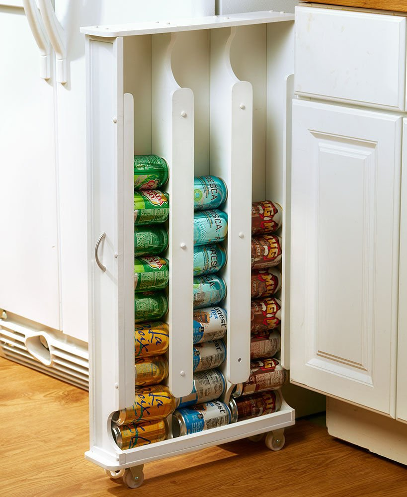 WHITE ROLLING SLIM STORAGE RACK HOLD CAN FOOD