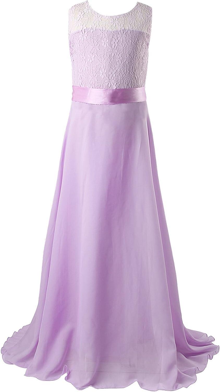 Longitud de Suelo Vestido Largo Vestido de ni/ña de Flores de Boda de Dama 10 Colores, Edad 5 /– 64years Discoball Ni/ñas Encaje Vestido de Gasa Vestidos de Novia