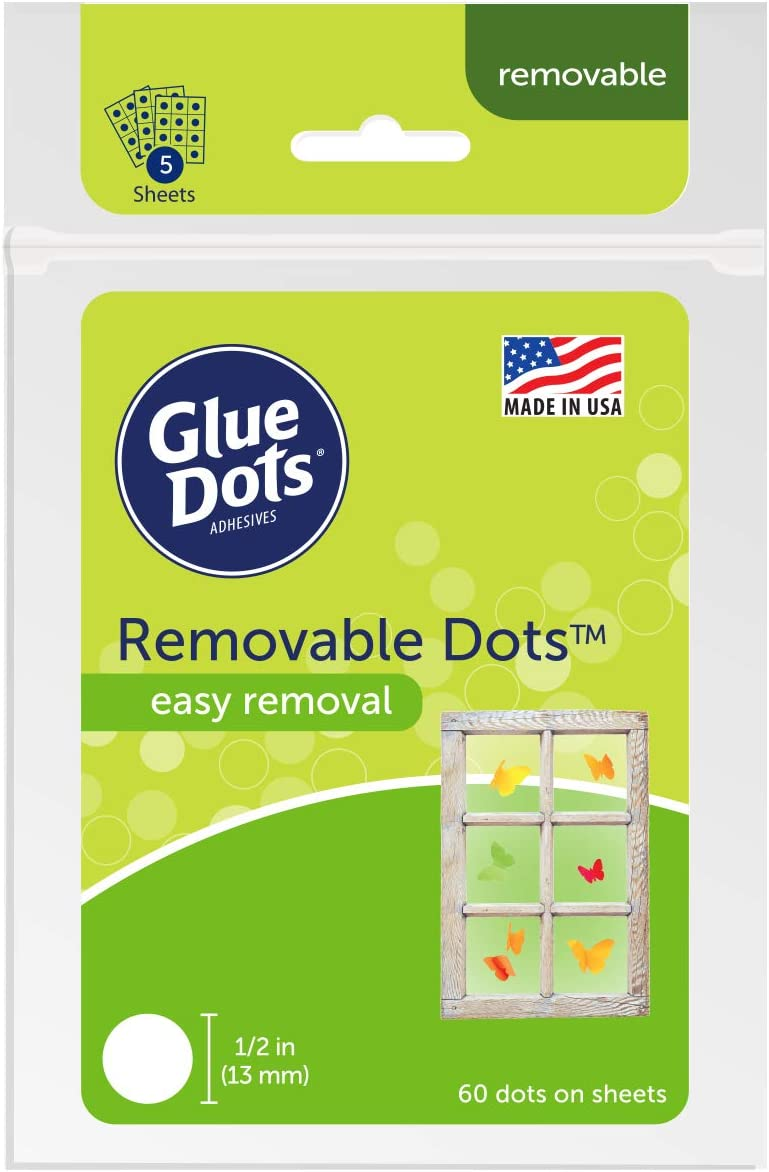 Glue Dots Removable Adhesive Dot Sheets, Contains 60 (.5 Inch) Diameter Adhesive Dots (OF222REM)