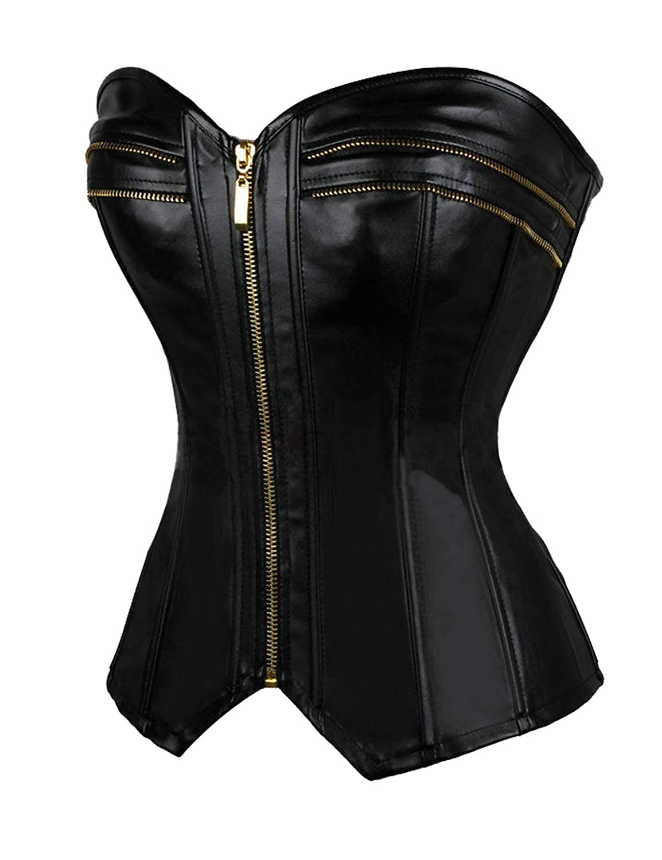 Vaslanda Women/'s Zipper Front Faux Leather Steampunk Corset Overbust PU Vintage Lace up Boned Bustier Top Lingerie Black