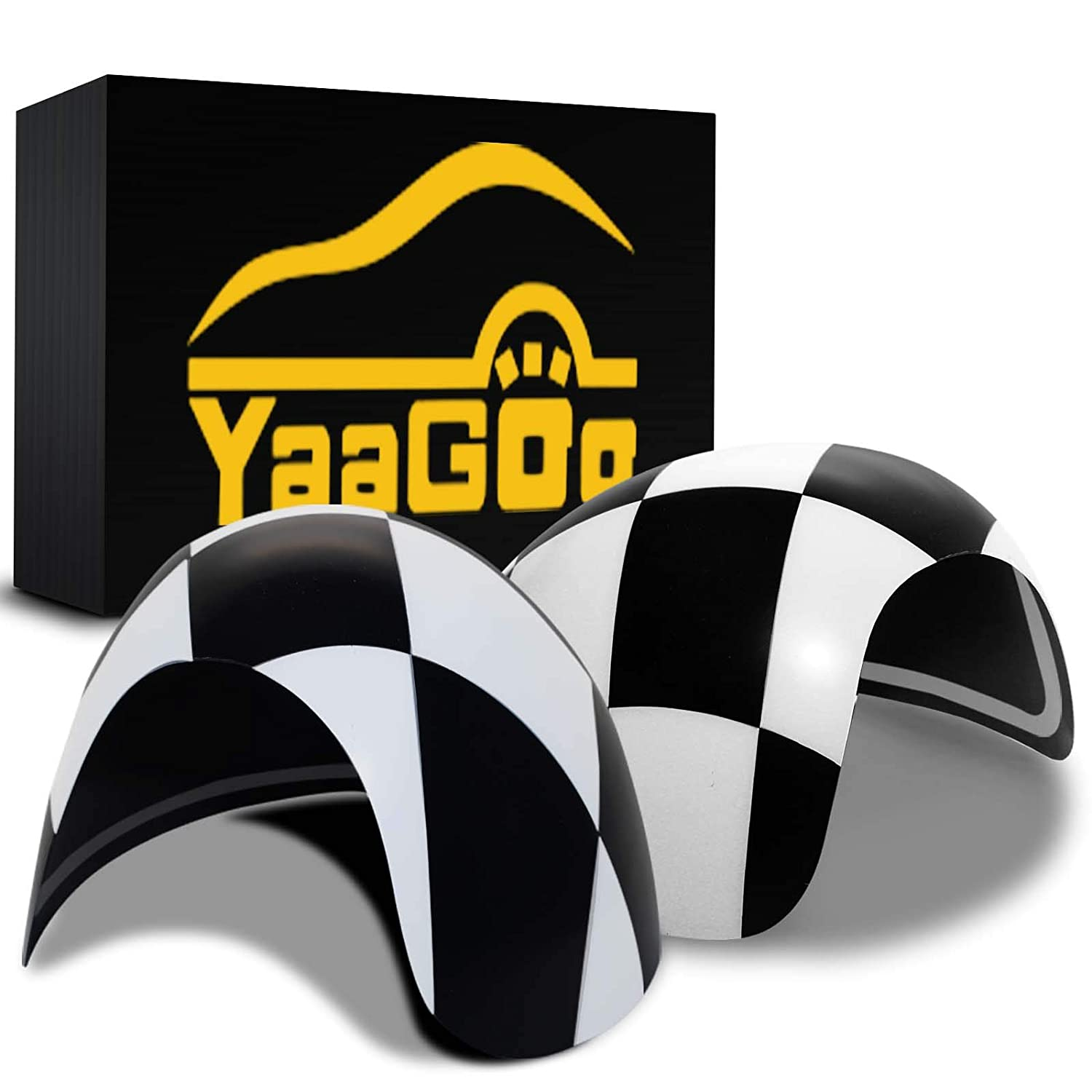 YaaGoo Out Side Wind Door Mirror Cover Plastic Decoration with Sticker Tape, for Mini Cooper (Checkered, R56R55R56R58R59R60R61 Power Folding) Yi-tech Industrial Co. Ltd