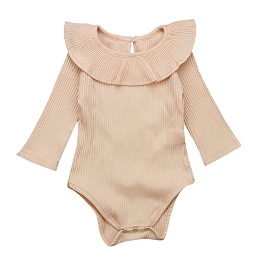 83db044ba1b BSGSH Infant Baby Girls Long Sleeve Ruffles Romper Bodysuit Outfit Clothes  (0