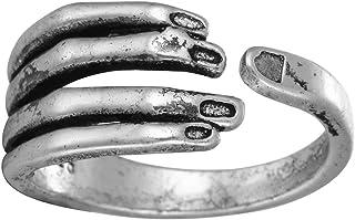 Anello a forma di mano in argento 925 anticato, regolabile, per donne, ragazze, uomini, matrimoni e compleanni QIANDI JEWELRY LTD 17QDSLR11