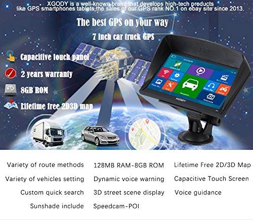 Xgody 715 - Sistema de Navegación GPS para Camión de 7 Pulgadas con Pantalla Táctil capacitiva de 8 GB ROM SATNAV Navigator con mapas de por Vida ...