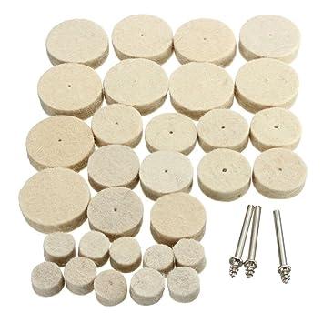 33 Piezas 30 mm 24 mm/12 mm suave fieltro Pulido de almohadilla a rueda para herramientas rotativi: Amazon.es: Jardín