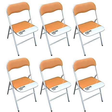 Sedie Pieghevoli Di Design.Milani Home Set Di 6 Sedie Pieghevoli Slim Arancio Color 157