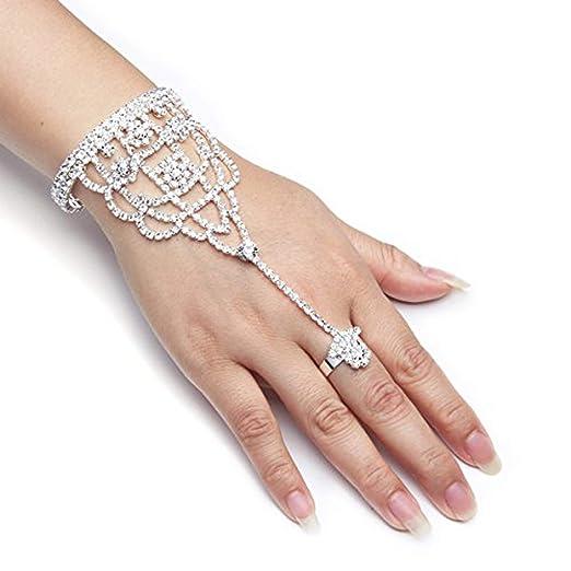 61H%2BOdOKMEL._UX522_ amazon com yuxi silver wedding bride hand harness latin dancer