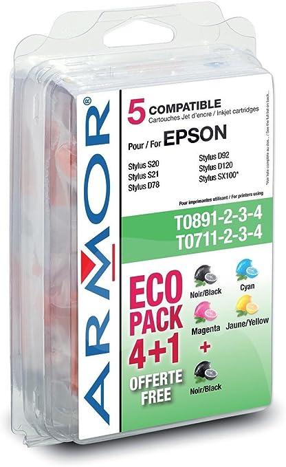 Armor Ink-Jet for Epson Stylus D78 Pack 4+1 - Cartucho de Tinta para impresoras (Inyección de Tinta): Amazon.es: Oficina y papelería