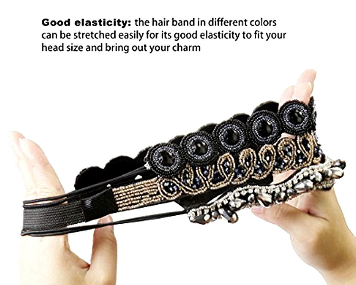 3 Styles Handmade vintage headbands Fits for Most classtic Rhinestone Beaded Elastic Headband for Women Hair Accessories Women/'s Headbands//Hairbands