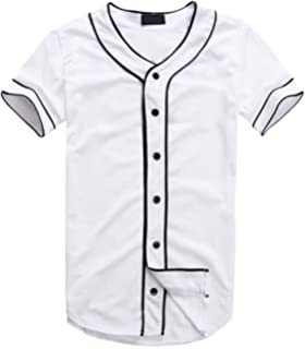 7f7cb9e0 AKP Mens Hipster Hip Hop Button-Down Baseball Jersey Short Sleeve Shirt