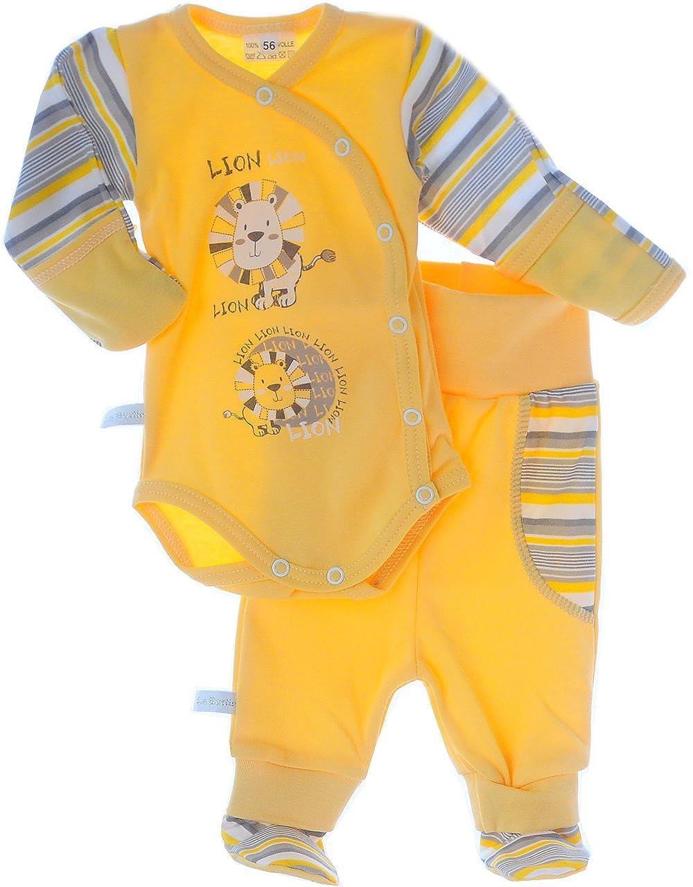 La Bortini Body /& Hose mit F/ü/ßchen Baby Set Body mit Kratzschutz Umschlag/ärmel Schlupfhose 50 56 62 68 74 80 86 92 Wei/ß mit Motiv