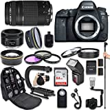 Canon EOS 6D Mark II DSLR Camera with Canon EF 75-300mm f/4-5.6 III Lens + Canon EF 50mm f/1.8 STM Lens + Fully Dedicated TTL Flash + 64Gb SDXC Card + FB-150 Flash Bracket (22 items kit)