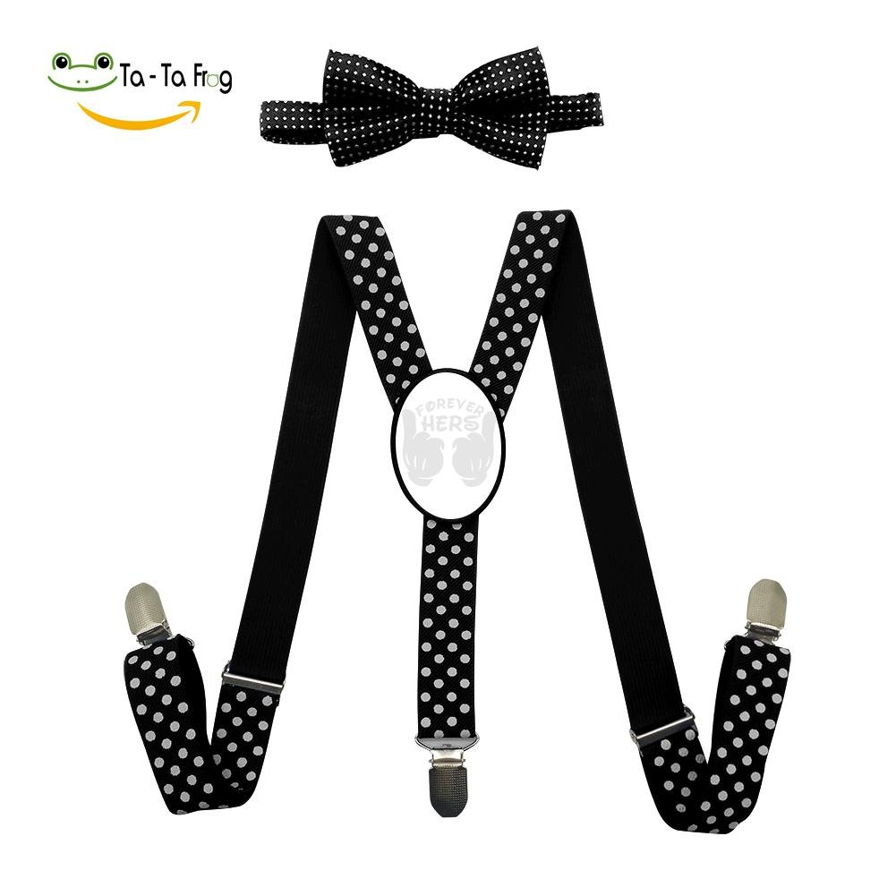 Xiacai Forever Hers Suspender/&Bow Tie Set Adjustable Clip-On Y-Suspender Boys