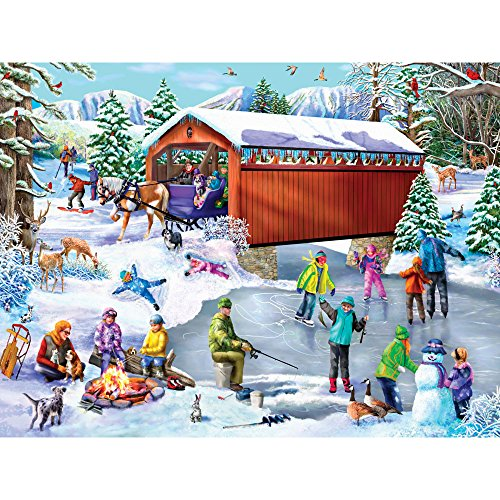 Bits and Pieces - 300 Piece Jigsaw Puzzle for Adults - Winter Frolic - 300 pc Snow Holiday Christmas Skating Jigsaw by Artist Mary Thompson