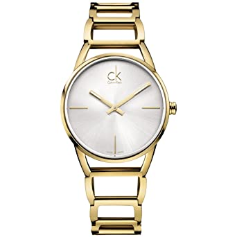 Calvin Klein K3G23526 - Reloj analógico de Cuarzo para Mujer con Correa de Acero Inoxidable bañado, Color Dorado