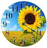 "SUNFLOWER FIELD CLOCK Beach Clock Large 10.5"" Wall Clock Decorative Round Circle Clock Home Decor Novelty Clock YELLOW, GREEN LEAVES"