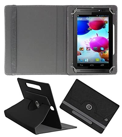 ACM Designer Rotating Leather Flip Case for Spice Halo Fone Cover Stand Black Tablet Accessories