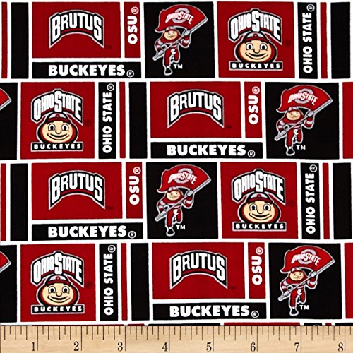 Sykel Enterprises Collegiate Cotton Broadcloth Ohio State University Fabric by The Yard, Multi 0401900
