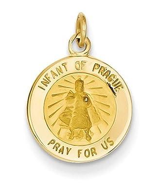 7c3849196f9 Amazon.com: 14k Yellow Gold Infant of Prague Medal Charm (17X12MM ...