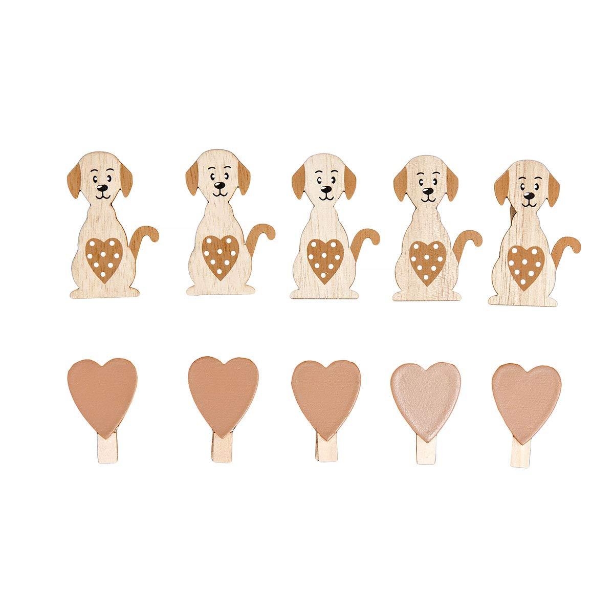 naturelle marron Cadre photo p/êle-m/êle murale forme c/œur en bois pour les amoureux des animaux et chiens tableau /à message tableau /à m/émo 39 x 39 cm avec 5 chien et 5 coeur clips