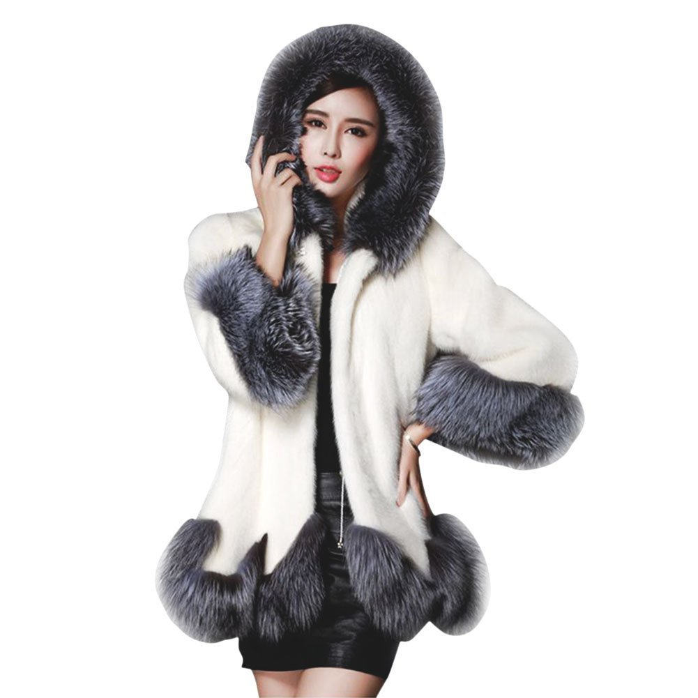 ANRABESS Women Fluffy Warm Winter Long Faux Fur Coat Jackets Hooded White L 43