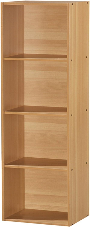 Hodedah Import 4 Shelf Bookcase, Beech