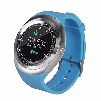 2df58c5953f Relógio Smartwatch Y1 Original Celular Inteligente Touch Bluetooth Chip  Ligações Pedômetro Câmera (AZUL)