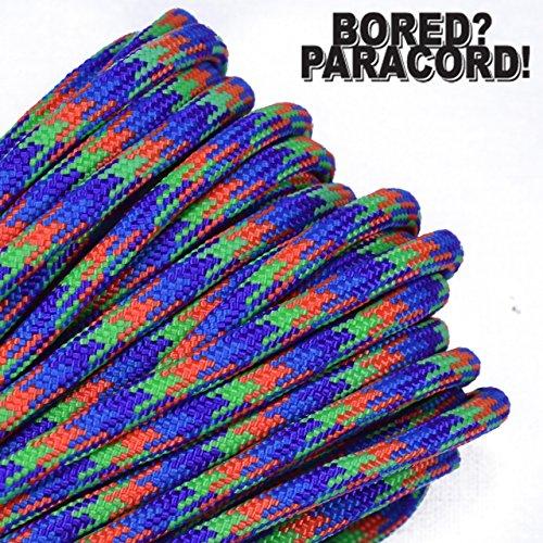 BoredParacord Brand 550 lb Type III Paracord - Mardi Gras 100 Feet