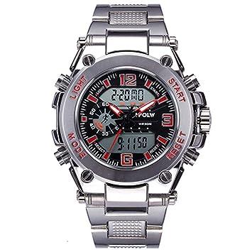 WULIFANG Los Hombres Electrónica Digital Led Reloj De Pulsera Relojes Deportivos Militares Marca Deportiva Impermeable Shock Ver Hombres Rojo: Amazon.es: ...