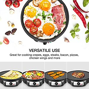 """Electric Crepe Maker, iSiLER 12"""" Electric Nonstick Crepe Pan, 1080W Electric Pancakes Maker Griddle with Batter Spreader & Wooden Spatula, Precise Temperature Control for Roti, Tortilla, Eggs, Bacon"""